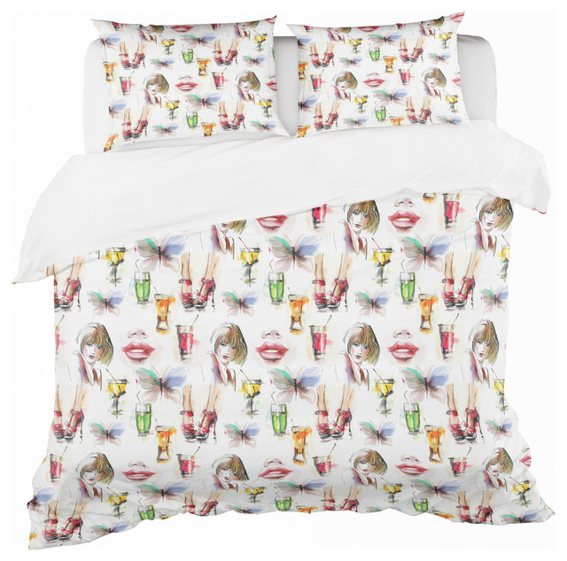 Beauty And Fashion Pattern With Girls Modern Teen Duvet Cover Set Contemporary Duvet Covers And Duvet Sets By Design Art Usa