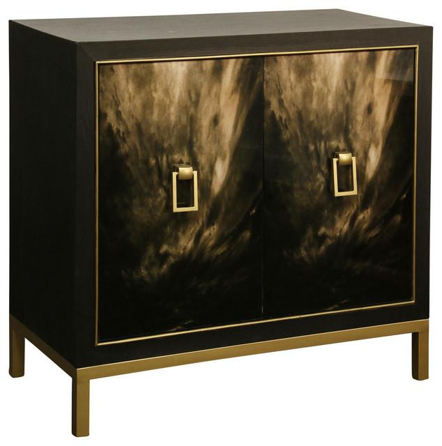 2-Door Cabinet With Black Cloud Screen-Printed Glass Doors, Gold Metal Base.
