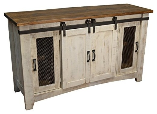"Rustic 80"" White Barn-Door Media Console."