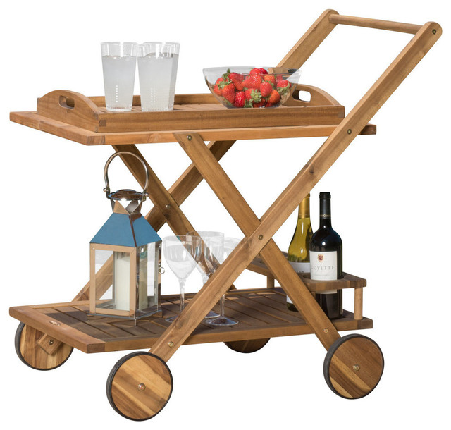 GDF Studio Kadence Solid Wood Natural Stained Kitchen Serving Cart