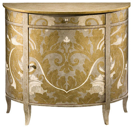Hand-Painted Demilune Cabinet