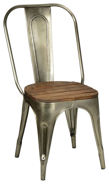 metal and wood chair