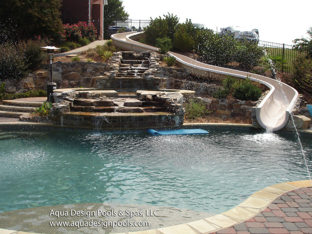 Waterfall and extended slide craftsman pool atlanta for Swimming pools with slides and waterfalls