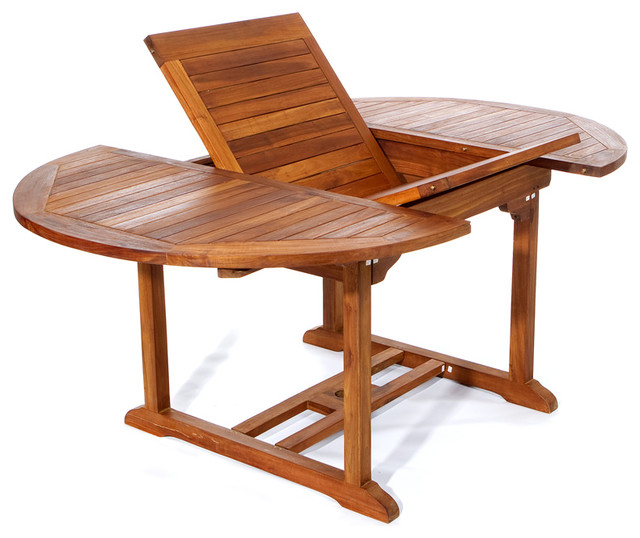 Dining Table With Leaf: 6' Teak Patio Oval Extension Table, With Foldable