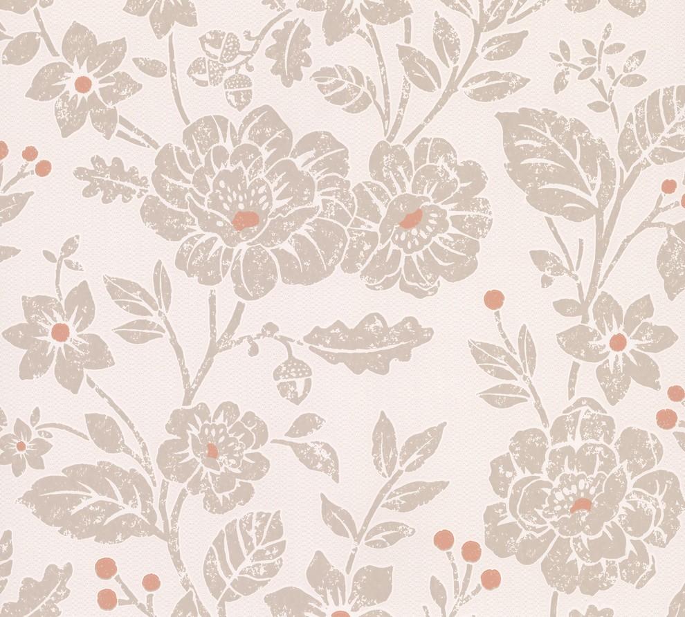 Bourdain Light Brown Floral Wallpaper Contemporary Wallpaper
