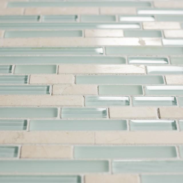 12 X12 Light Blue And White Stone Gl Mosaic Tile Backsplash Set Of 10