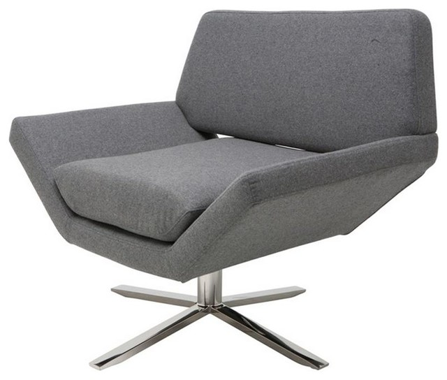 Stylish Occasional Chair With High Polish Stainless Steel Swivel Base  Modern Armchairs And