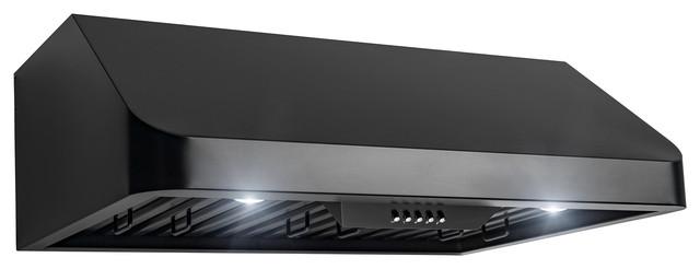 Akdy 30 Under Cabinet Black Stainless Steel Push Panel Kitchen Range Hood Fan.