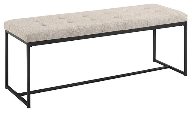 "48"" Upholstered Bench With Metal Base, Tan."