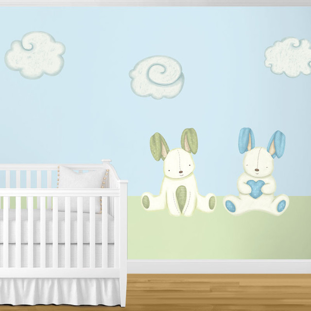 Bunny Rabbits and Cloud Wall Stickers Contemporary Wall Decals