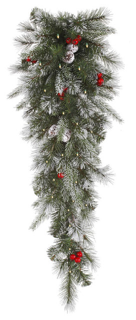 """Pre-Lit Frosted Pine Berry Artificial Christmas Teardrop Swag, Clear Lights, 36""""."""