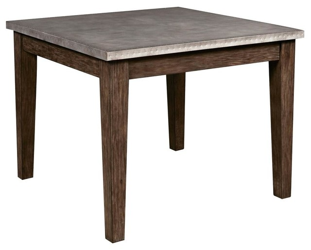 Metal Wrapped Dining Table in Brown