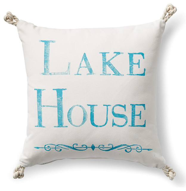 Lake House Outdoor Pillow With Knots Traditional