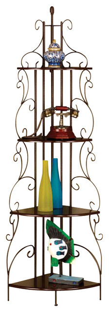 Elegant Copper Finished Scroll Accent Corner Rack Storage Wall Shelf Bookcase.