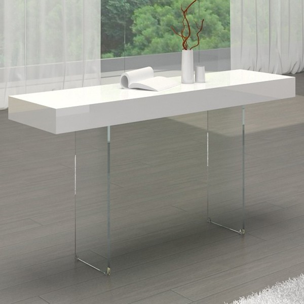 White High Gloss Side End Square 2 Seats Of Coffee Table: Il Vetro Console In White High