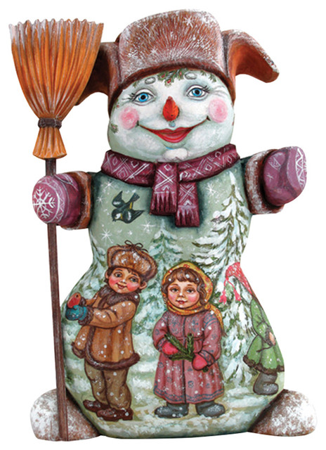 Mr. Snowman With Kids, Woodcarved Figurine.