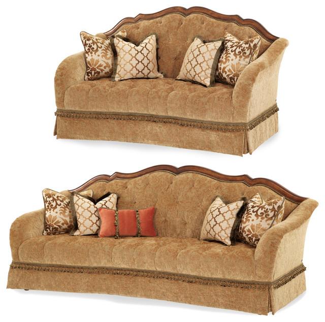 Aico Villa Valencia Wood Trim Tufted Sofa Set In Brown