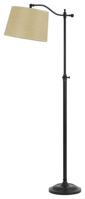 "62"" 1-Light Dark Bronze Floor Lamp With Tan Shade."