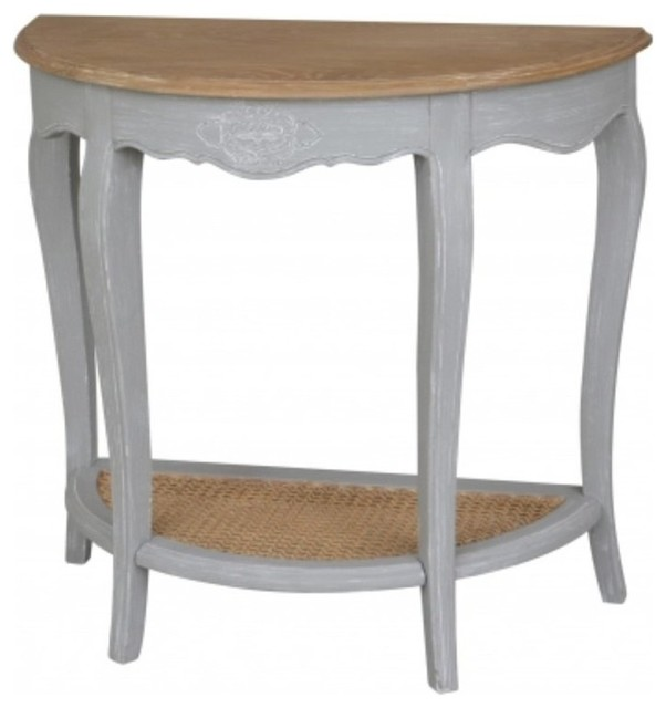 Beau Ashbury Half Moon Console Table, Antique Gray