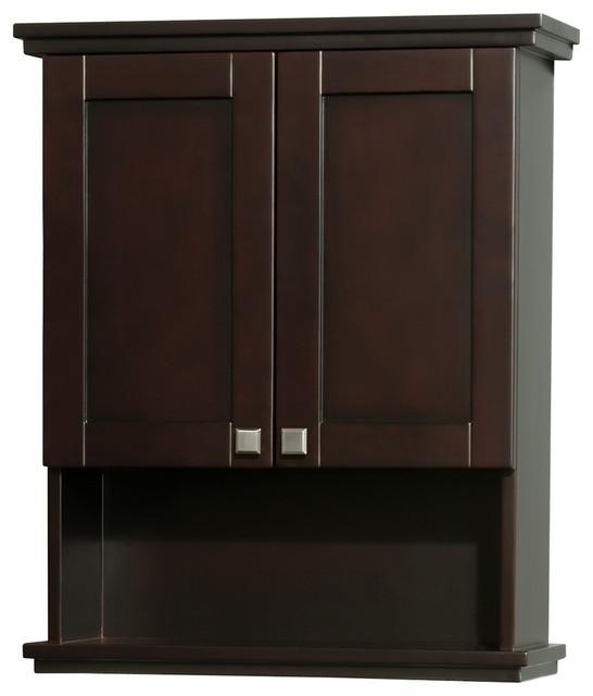 Acclaim Solid Oak Bathroom Wall-Mounted Storage Cabinet, Espresso