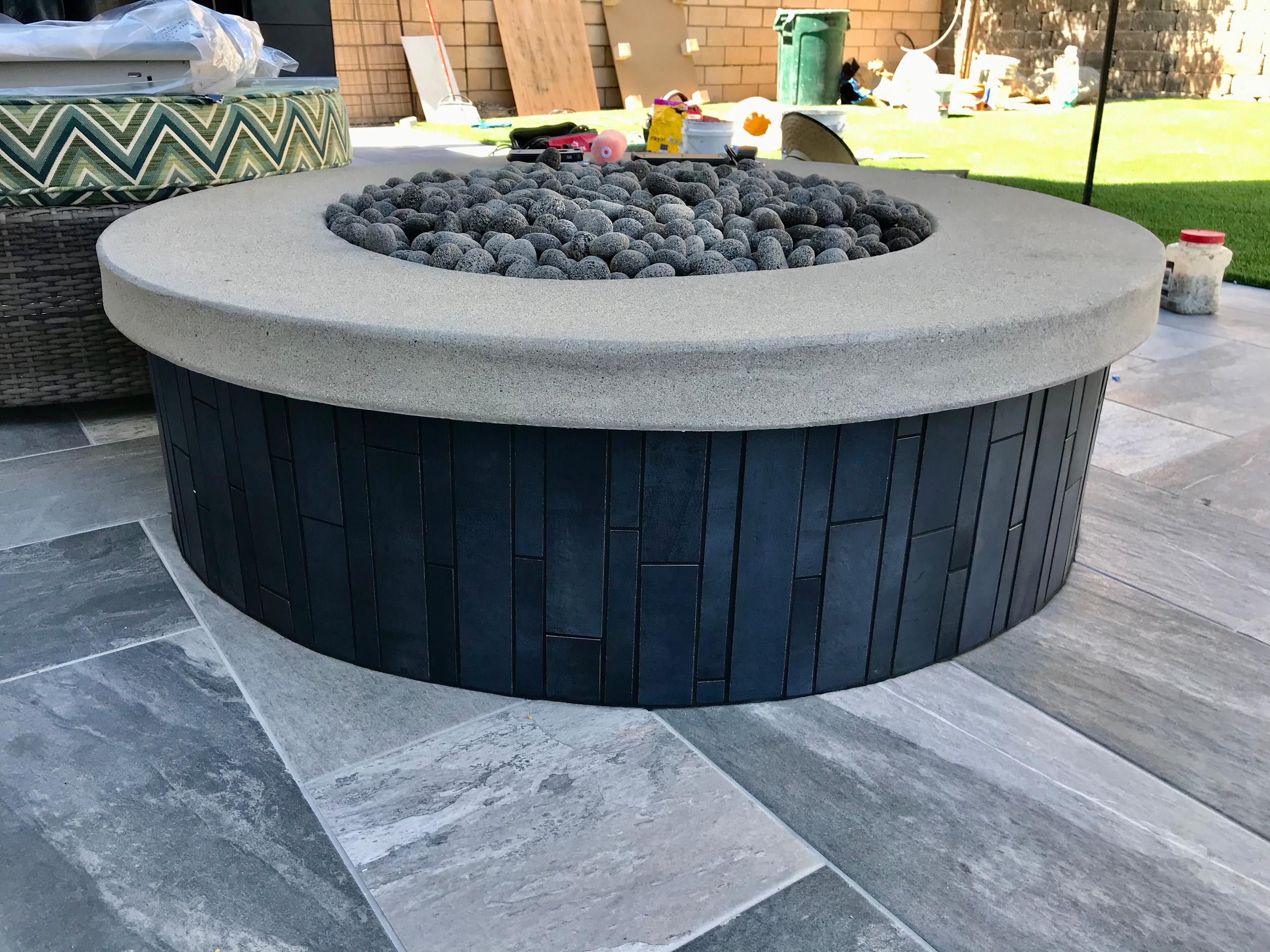 Custom Fire Pit with Concrete Cap