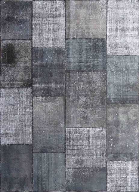 Rugsville Vintage Turkish Overdyed Patchwork After Dark Rug 10x14 Contemporary Area Rugs