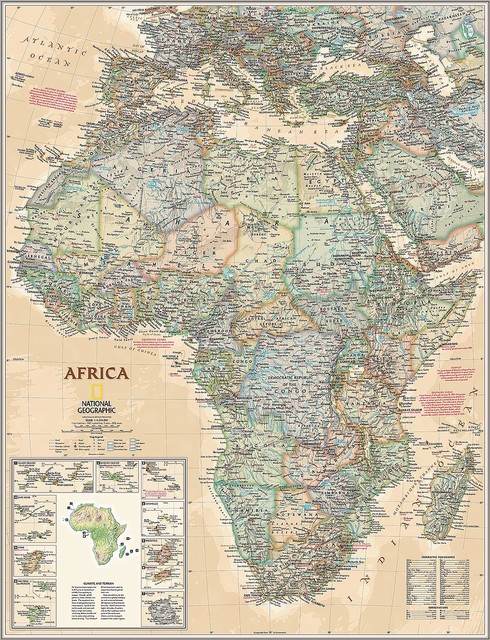 Executive Africa Map Wall Mural, Self Adhesive Wallpaper