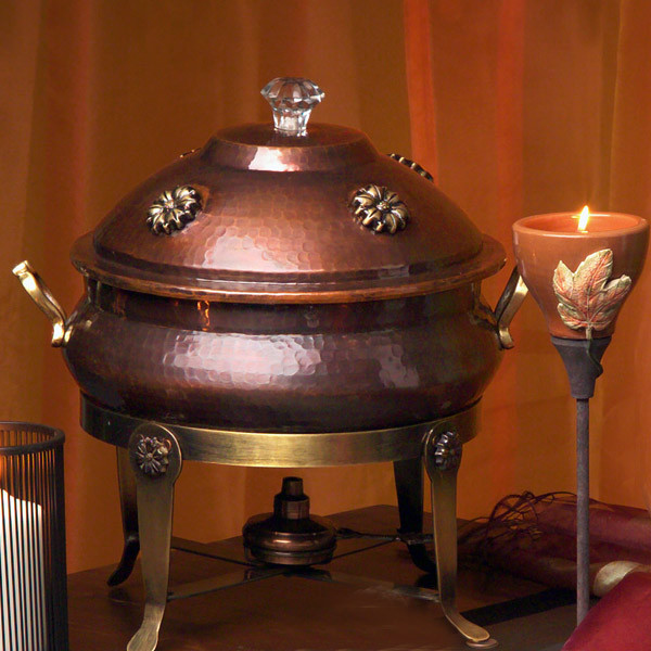 Floral 8 Qt. Copper Chafing Dish