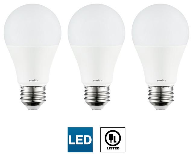 3 Pack Sunlite Led A19 Bulbs Non Dimmable 14 Watt Medium Base 50k Super White