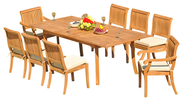 """9-Piece Teak Dining Set, 94"""" Ext Rect, 8 Arbor Stacking Arm/Armless Chairs"""