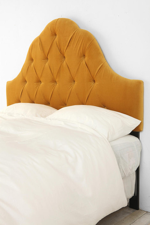 Velvet Tufted Headboard, Antique Gold