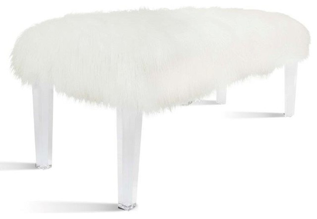 Scarlett Faux Fur Bench With Acrylic Base, White.