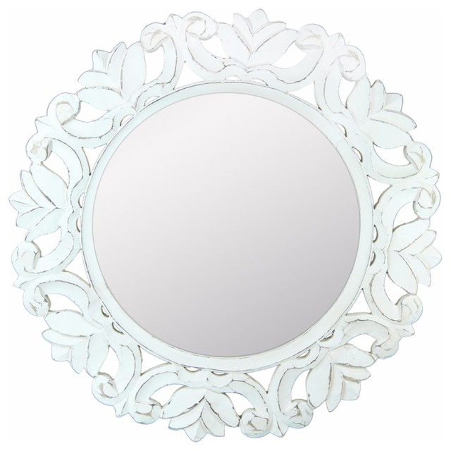 Distressed Wooden Framed Mirror, White.