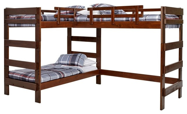 Hutchinson Mocha Twin L Shape Bunk Loft Bed For 3 Transitional