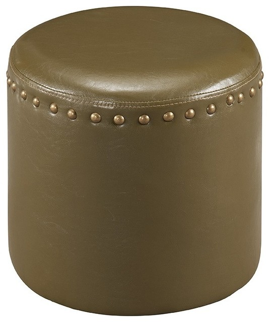 Cool 15 5 Inch Nailhead Trim Green Faux Leather Upholstered Round Stool Ottoman Gmtry Best Dining Table And Chair Ideas Images Gmtryco