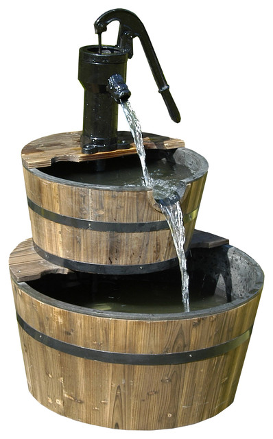 Wood Barrel With Pump Patio Water Fountain, Large Farmhouse Outdoor  Fountains And
