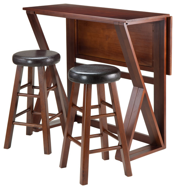 Harrington 3-Piece Drop Leaf High Table, 2-24 Cushion Round Seat Stools.