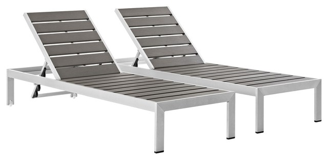 Modern Contemporary Urban Outdoor Patio Chaise Lounge Chair, Gray Gray, Aluminum.