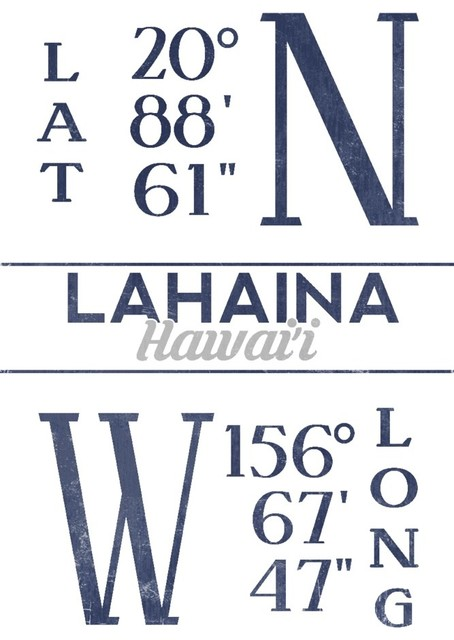 Quot Lahaina Hawaii Latitude And Longitude Blue Quot Print