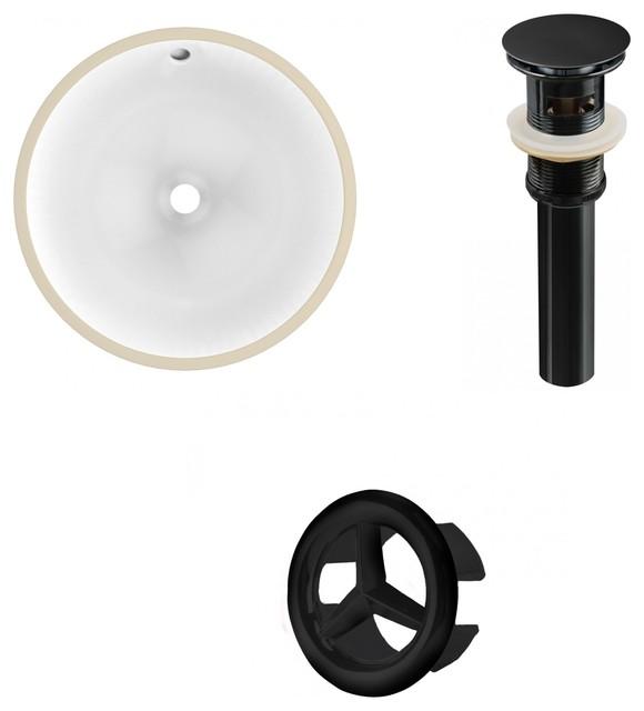 16.5round Undermount Sink Set In White, Black Hardware, Overflow Drain Incl..