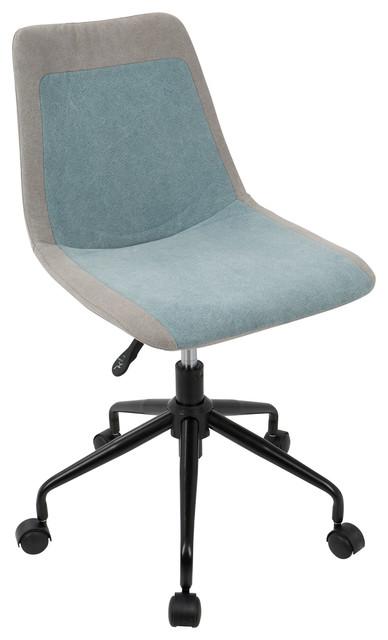 LumiSource Orzo Height Adjustable Task Chair, Black And Orange Denim, Black