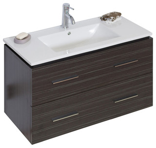 """Modern Wall Mount Plywood-Melamine Vanity Base Only, Dawn Gray, 35""""X17"""" - Contemporary ..."""