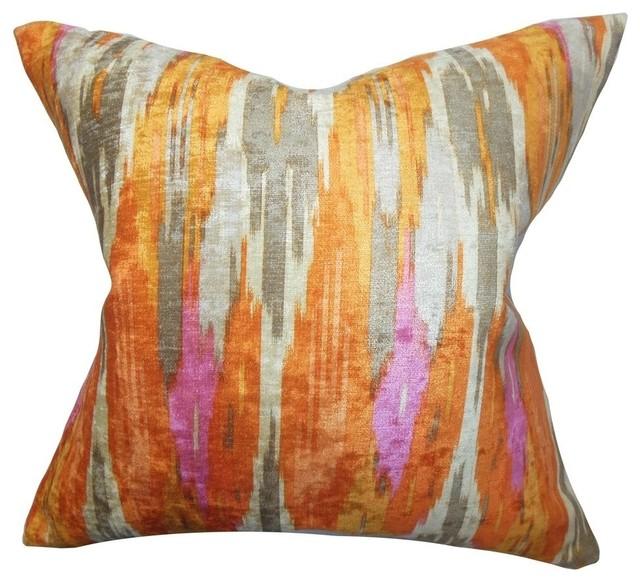 "Ulyanka Geometric Pillow Orange 20""x20""."
