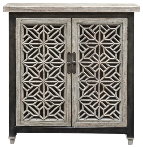 Branwen Aged White Accent Cabinet by Designer Billy Moon