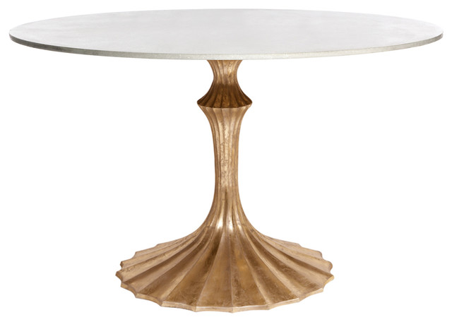 kathy kuo home white fluted base white marble hollywood regency dining table dining tables houzz. Black Bedroom Furniture Sets. Home Design Ideas