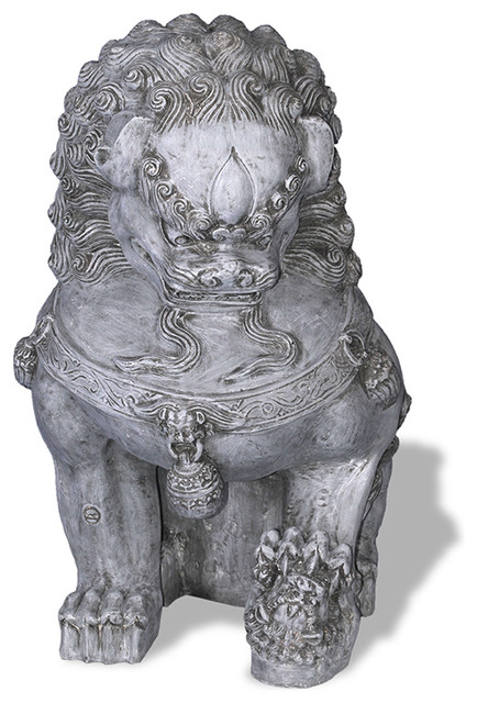 Foo Dog Statue, Lead Gray Asian Garden Statues And Yard