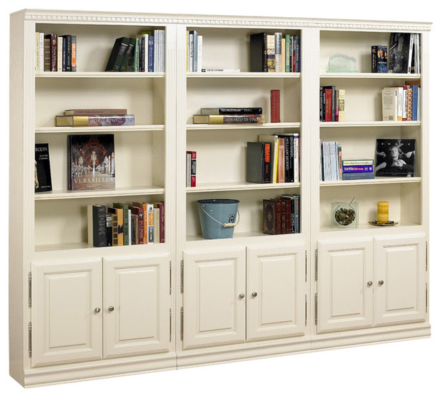Hampton Tall 3 Pc Bookcase Wall w Doors in Pearl White Finish - Contemporary - Bookcases - by ...