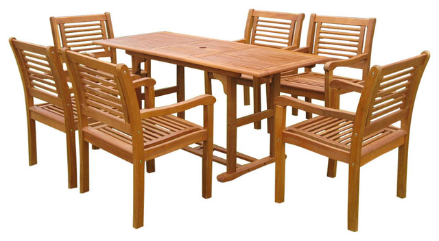 Royal Tahiti Cervera Rectangular Dining Set,brown Stain.