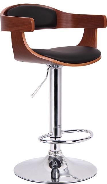 Garr Modern Bar Stool, Walnut Brown/Black
