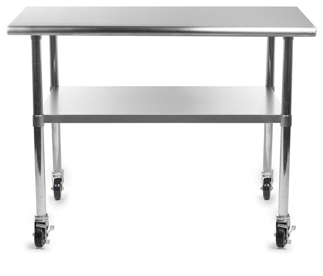 Stainless Steel 48 X 24 Inch Kitchen Prep Table With Casters   Contemporary    Kitchen Islands And Kitchen Carts   By Hilton Furnitures